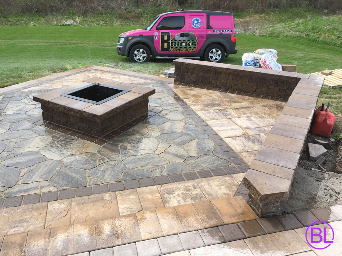 Stamped Concrete Patio Idea For Outdoor Fire Place