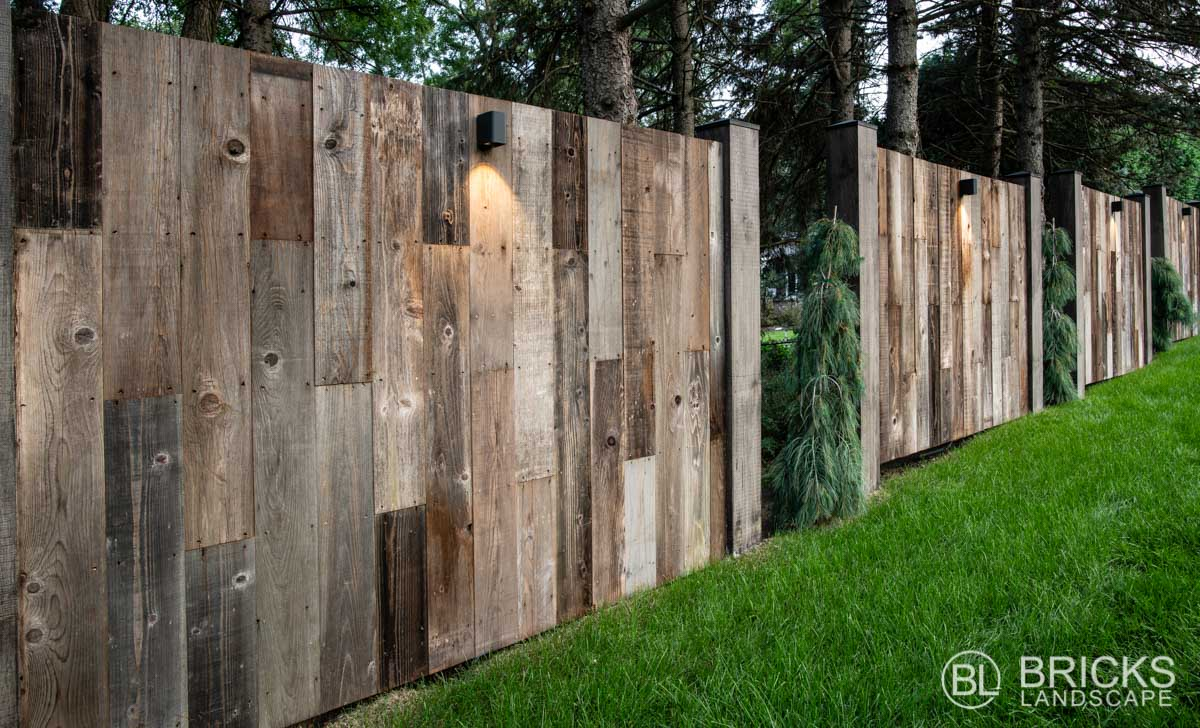 Privacy Walls Made of Reclaimed Barnwood
