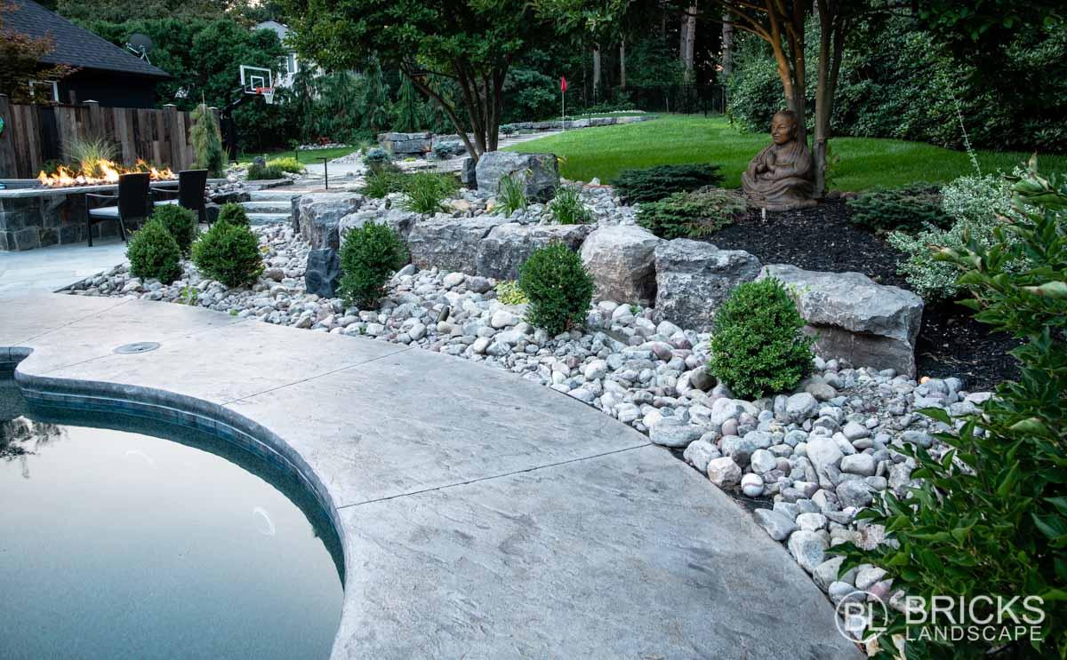 Custom Pool Rock Surround and Buddha