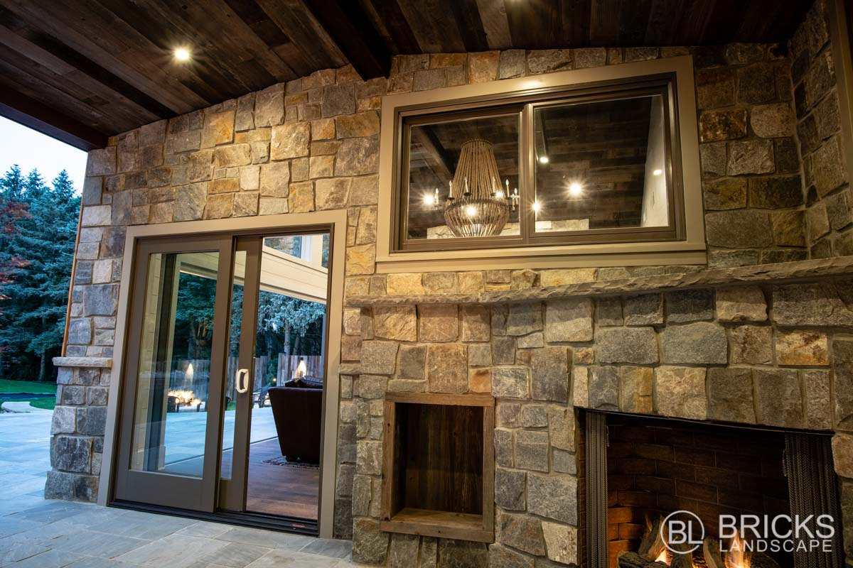 Stone Wall and Fireplace